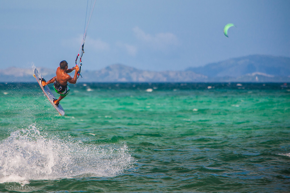 Kiteboarding, Bulabog Beach, Boracay, Aklan, Philippines.  Boracay is the most popular beach destination in the Philippines, and Bulabog Beach is the kitesurfing and windsurfing capital of Asia.