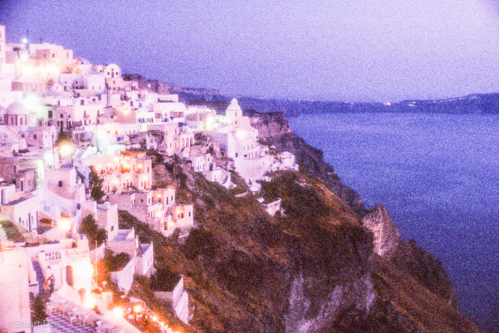 Town of Thira, overlooking the sea, at dusk, Santorini, Greece