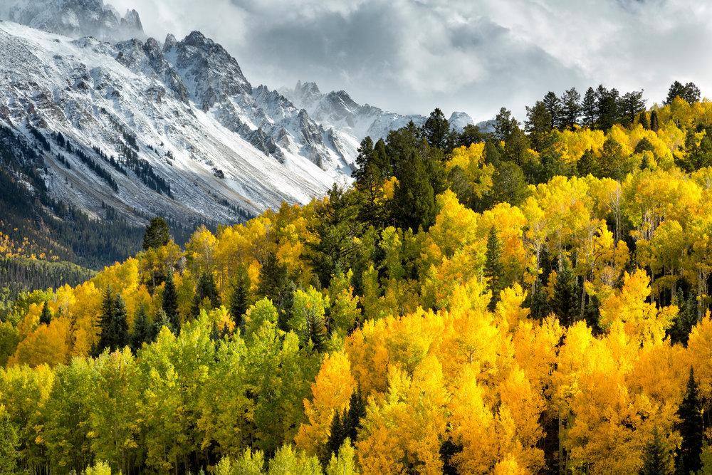 Landscape: Autumn colors and a fresh snowfall in the San Juan Mountains, Colorado