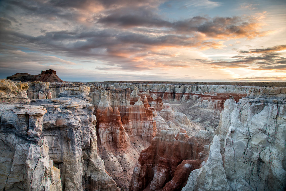 Landscape: An unnamed canyon at sunrise in winter, Northern Arizona