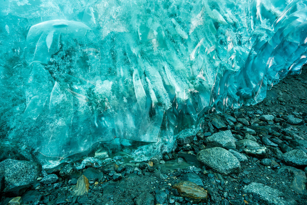 Landscape: An ice cave beneath the Mendenhall Glacier, Juneau Icefield, Alaska