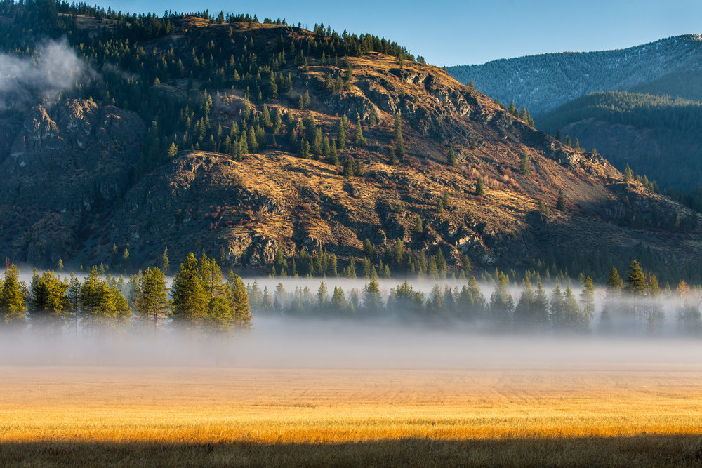 Landscape: Fog in the Methow Valley on an autumn morning, Mazama, Washington