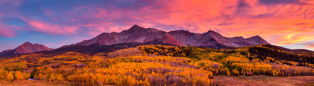 Landscape: An stunning panoramic sunset over Wilson Peak and an aspen forest in Autumn, Telluride, Colorado