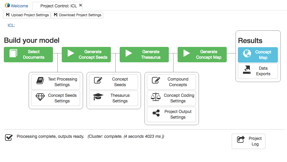 The new Leximancer control panel makes your model building clear and intuitive.