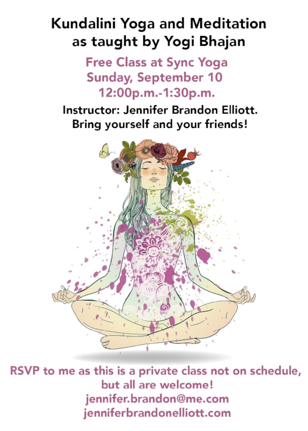 Kundalini Yoga And Meditation In Dallas At Sync Yoga September 10 2017 Jennifer Brandon Elliott