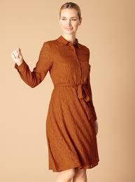 Premium Brown Belted Jacquard Shirt Dress, £32