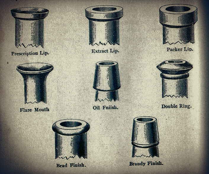 1908 Illinois Glass Company catalog.   Some popular styles of bottle finishes used at that time.