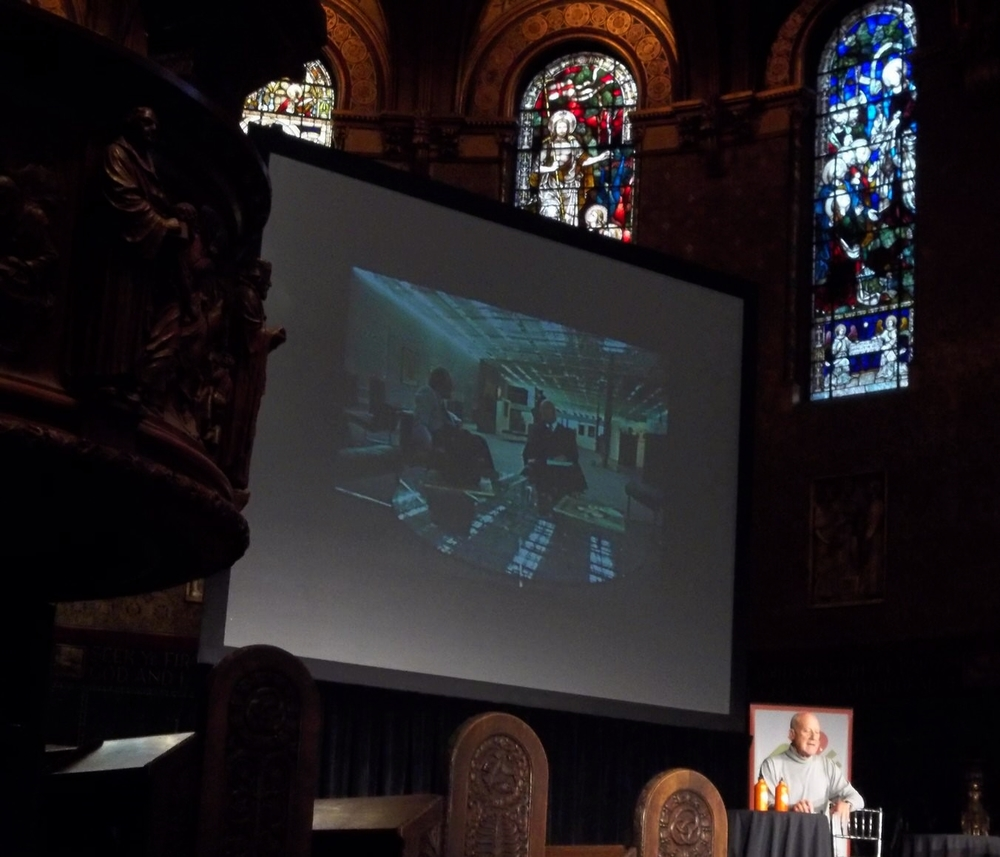 Norman Foster talk, Trinity Church, Boston. Slide shows Foster with Buckminster Fuller in the Sainsbury Ctr. Norwich.