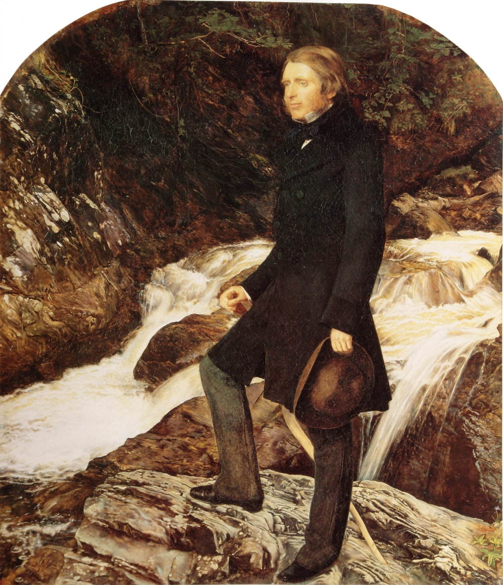 John Ruskin painted by the Pre-Raphaelite artist John Everett Millais standing at Glenfinlas, Scotland, (1853–54)