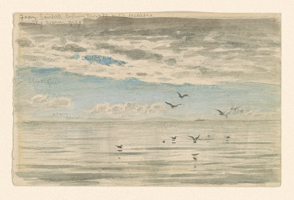 "Ruskin   From Sairlock looking towards Outer Hebrides   19th c. 1992.34  Pierpont Morgan Library Dept. of Drawings and Prints. Brush and gray wash, blue watercolor, over graphite, on paper. Note at top: ""Sky warm grey"""