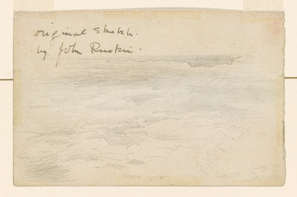 Ruskin      From Sairlock looking towards Outer Hebrides    19th c.   1992.34  Pierpont Morgan Library Dept. of Drawings and Prints. The reverse side of the above sketch.