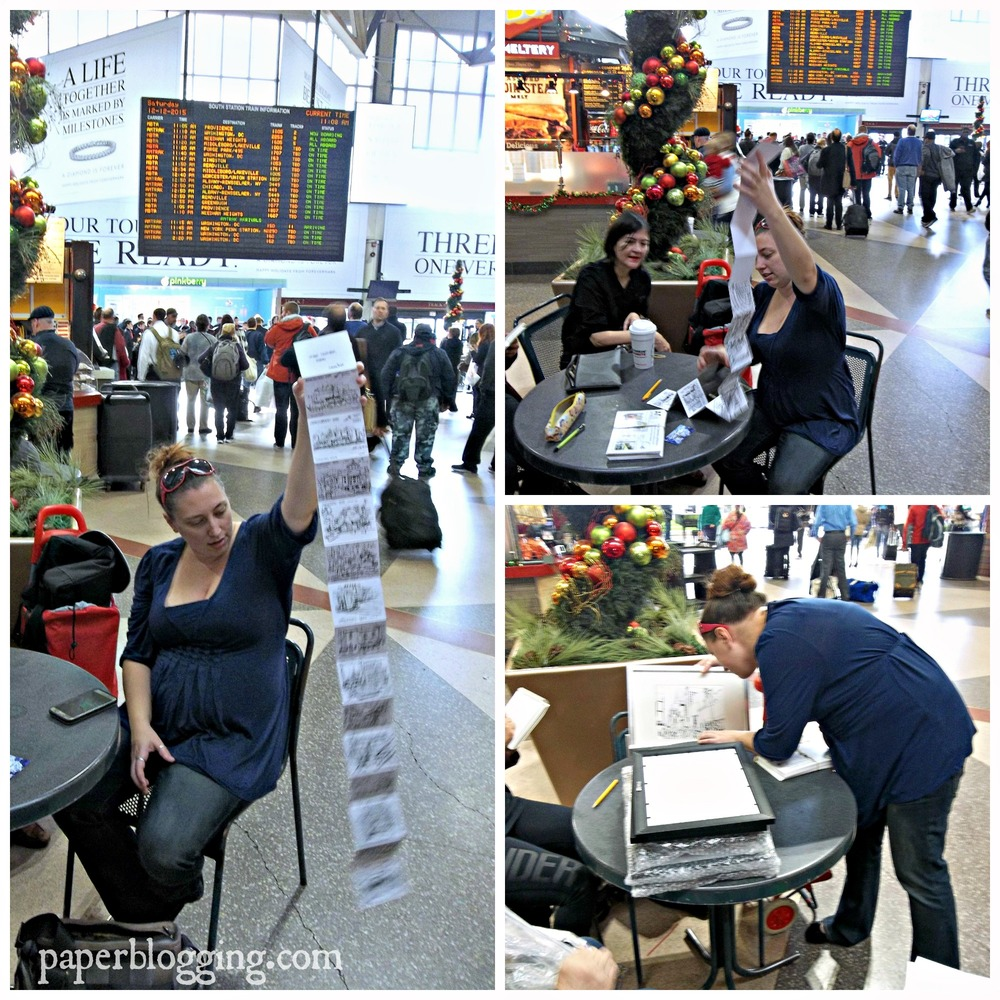 In South Station, Boston, Emma Thurgood, business manager of ArcWorks Gallery, looks through exhibit submissions with Laura Sfiat, cofounder of Urban Sketchers Boston