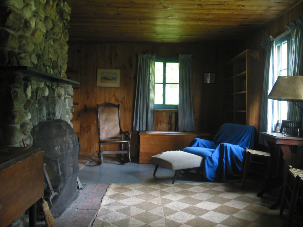 Don Shall, 2008. From 1939 until his death in 1963, Robert Frost, four-time Pulitzer Prize winning poet, teacher and lecturer wrote many popular poems here, including After Apple-Picking, The Road Not Taken, and Mending Wall, spending summer and fall in this cabin at his farm in Ripton, Vermont.
