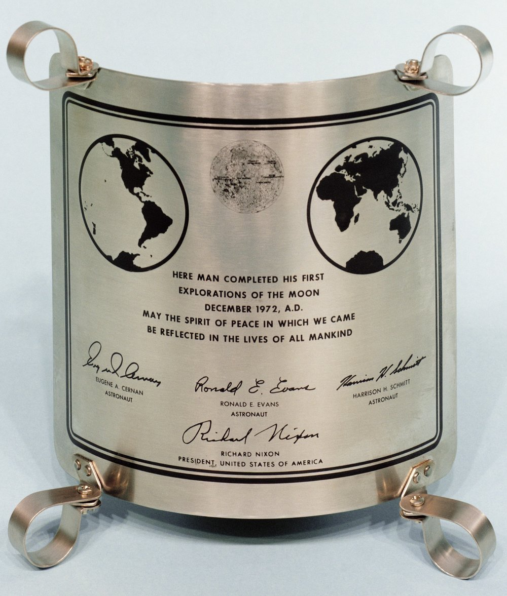 The final plaque, Apollo 17's, left on the moon