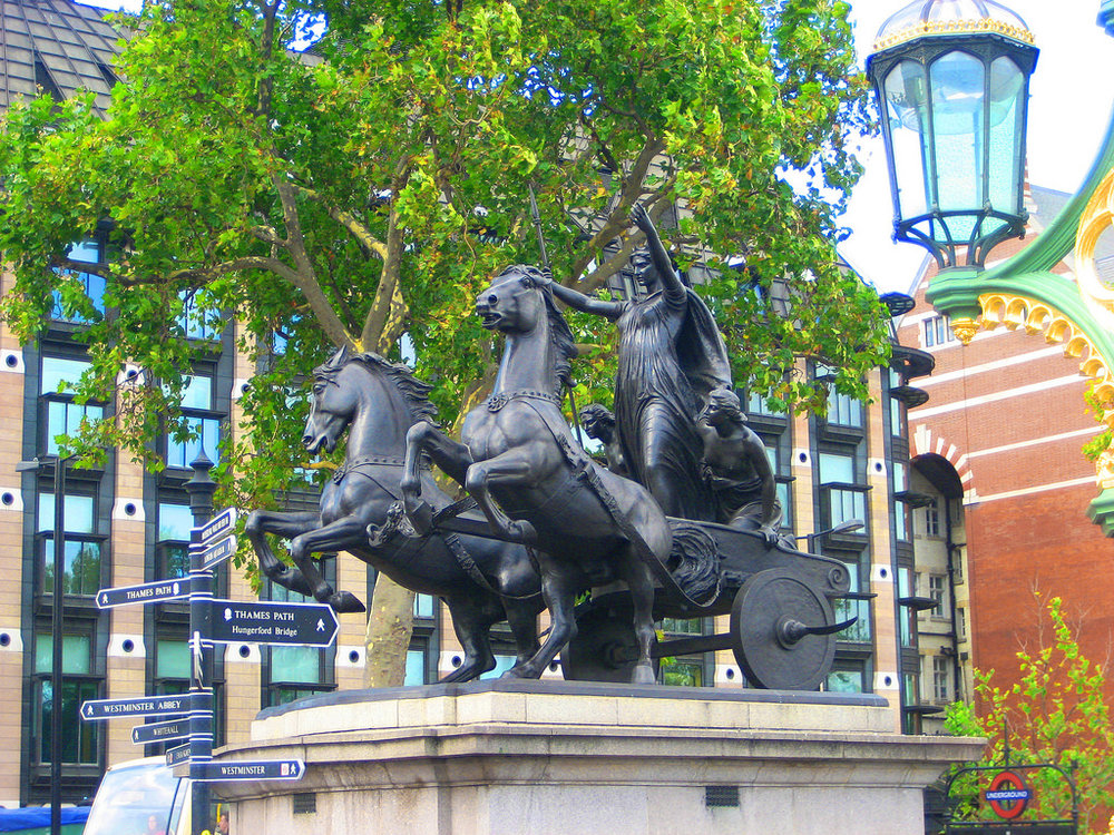 Boadicea on the Thames Embankment, London. Photo credit.