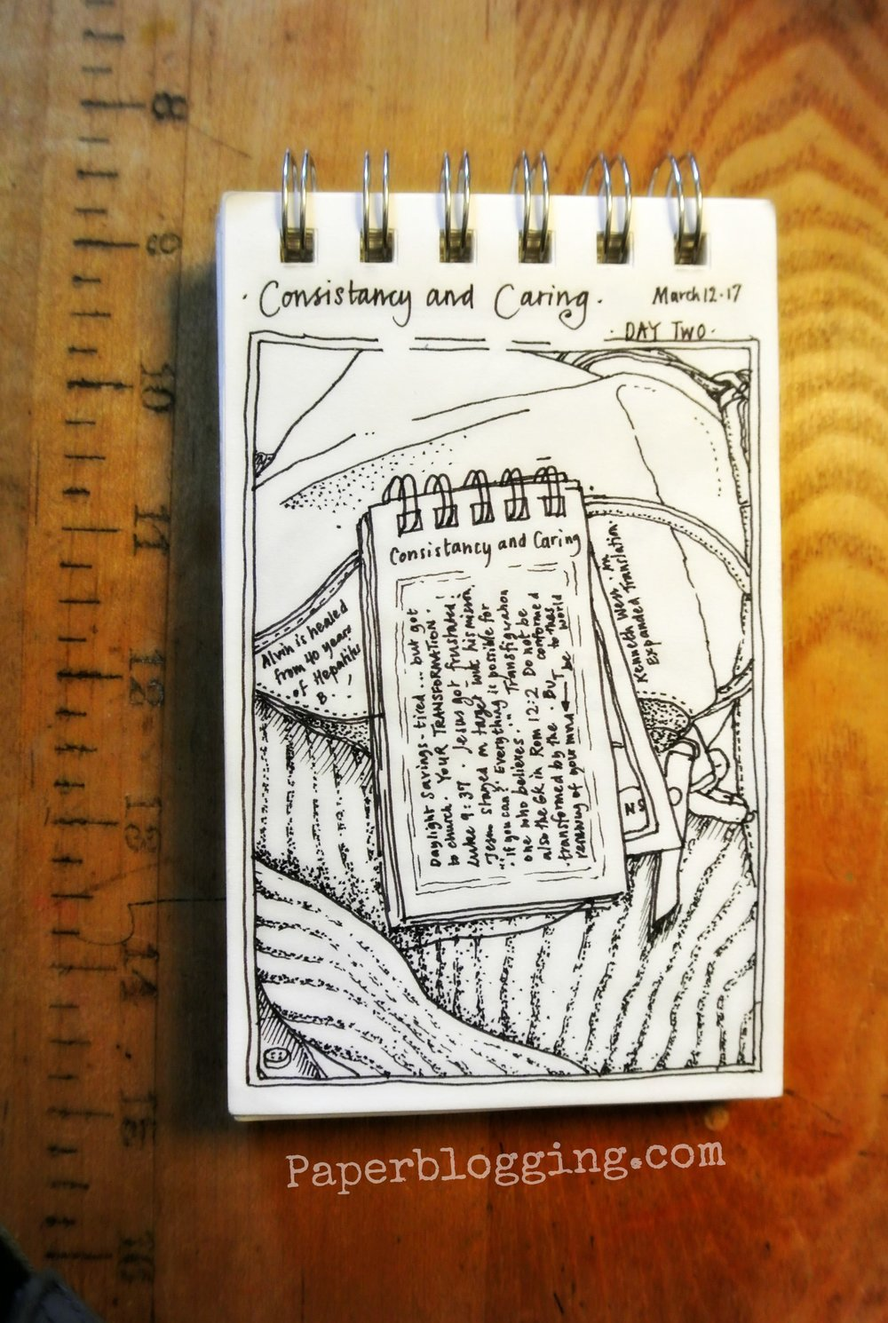 Strathmore Tiny Book: Day Two.  Notes listening to a sermon. Lots and lots of little lines. Lots of time.