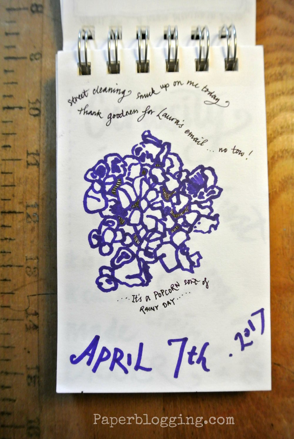 Strathmore Tiny Book: 2 minutes! Purple Sharpie and dark lilac Lamy ink in a Pilot Metropolitan pen