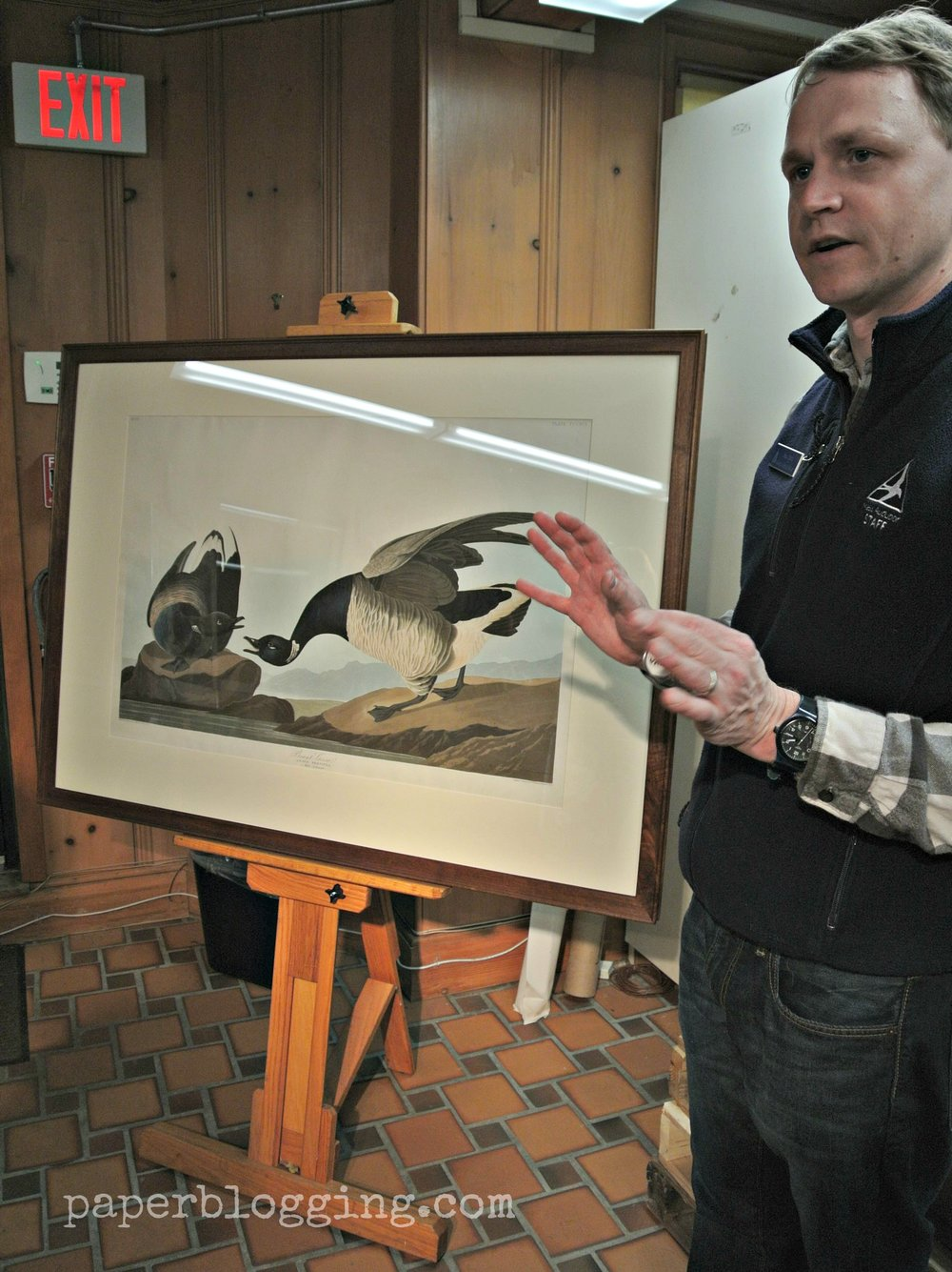 Sean Kent, homeschool program director & education coordinator, shows us this impressive plate from Audubon's book  Bird's of America.  Yes, that was the size of the book! Museum of American Bird Art.