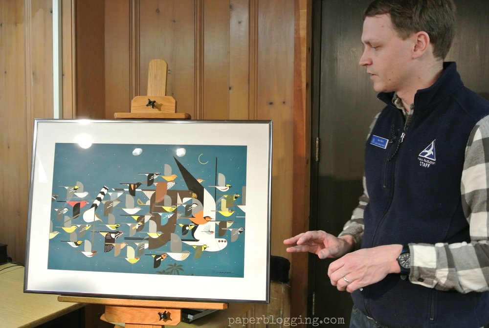 Discussing the qualities of this original Charlie Harper painting, Mystery of the Missing Migrants, Museum of American Bird Art.