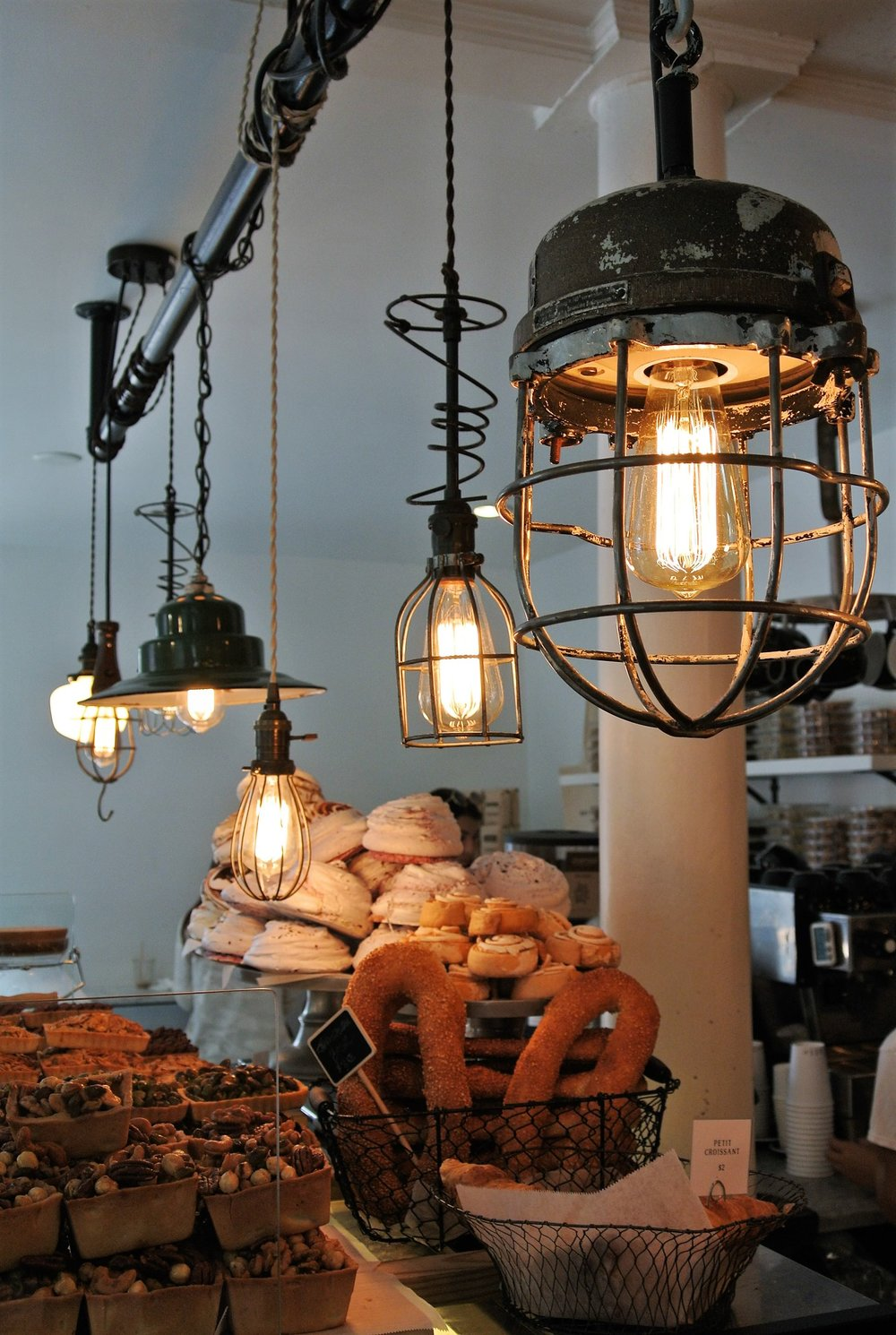 Lighting at Tatte Bakery and Cafe, Charles St, Boston