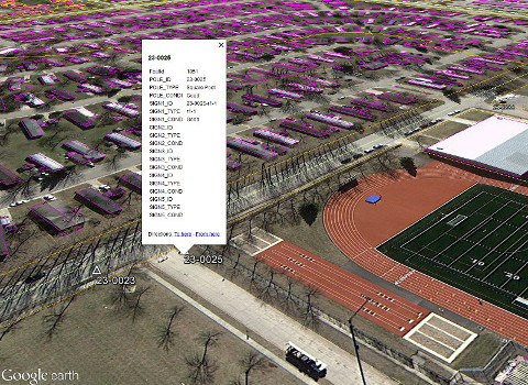A pop-up showing, inside Google Earth, the information (GIS) attached to an object exported from AutoCAD.