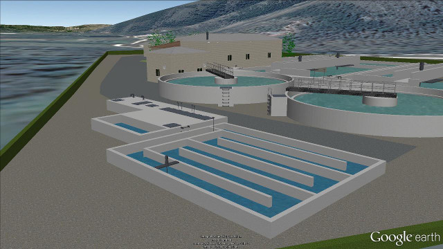 Detail view of a wastewater treatment plant in Google Earth.