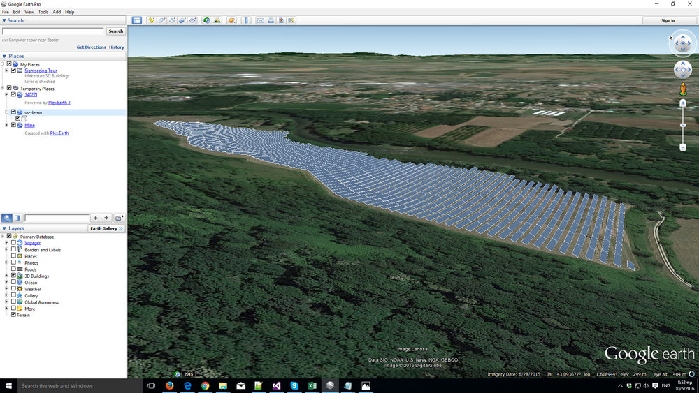 A generic view of a solar park in Google Earth