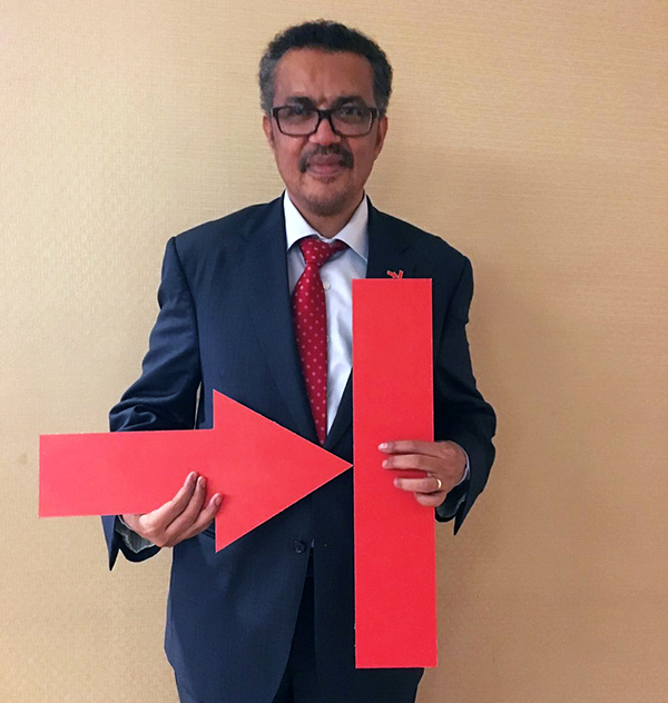 Dr Tedros with the 'End TB' logo