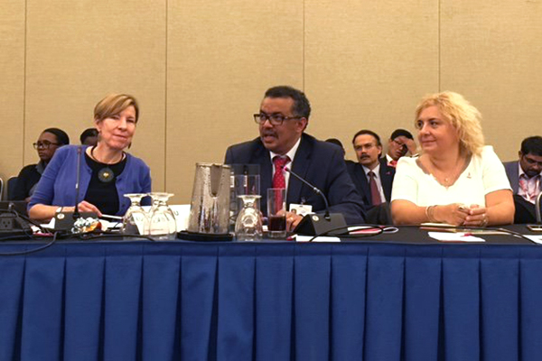 Dr Tedros flanked by Joanne Carter of Results.org and Lucica Ditiu of Stop TB
