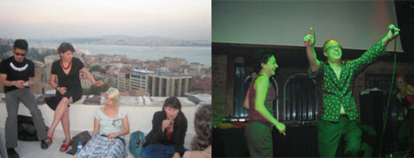 Left: On an Istanbul rooftop. Right: Charles Esche's karaoke moment.