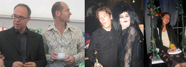 Left: Charles Esche and Vasif Kortun. Middle: Phil Collins and curator Xabier Arakistain. Right: Curator Natasa Petresin.