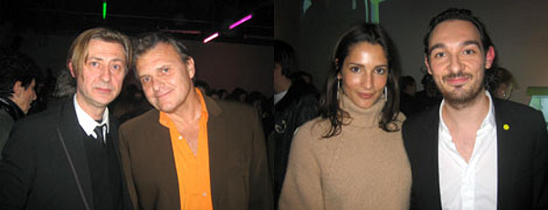 "Left: Jérôme Sans with fashion designer Jean-Charles de Castelbajac. Right: Model and photographer Astrid Muñoz with ""Notre Histoire..."" artist Matthieu Laurette."