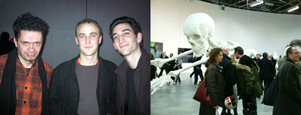 Contemporary senior editor Michele Robecchi, curator Thomas Boutoux, and critic Yoann Gourmel. Right: Visitors pass Adel Abdessemed's Habibi, 2003. (Photo courtesy Palais de Tokyo)