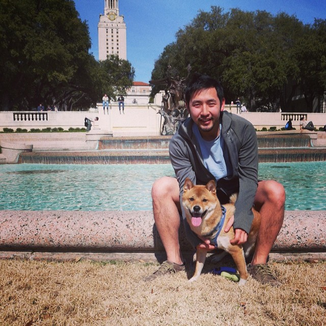 Hanging out w me pops in the land of the #longhorns. #hookem #futurelonghorn #UTtower #40acres #shibainu #shiba #dogsofinstgram –posted by zumababy on Instagram