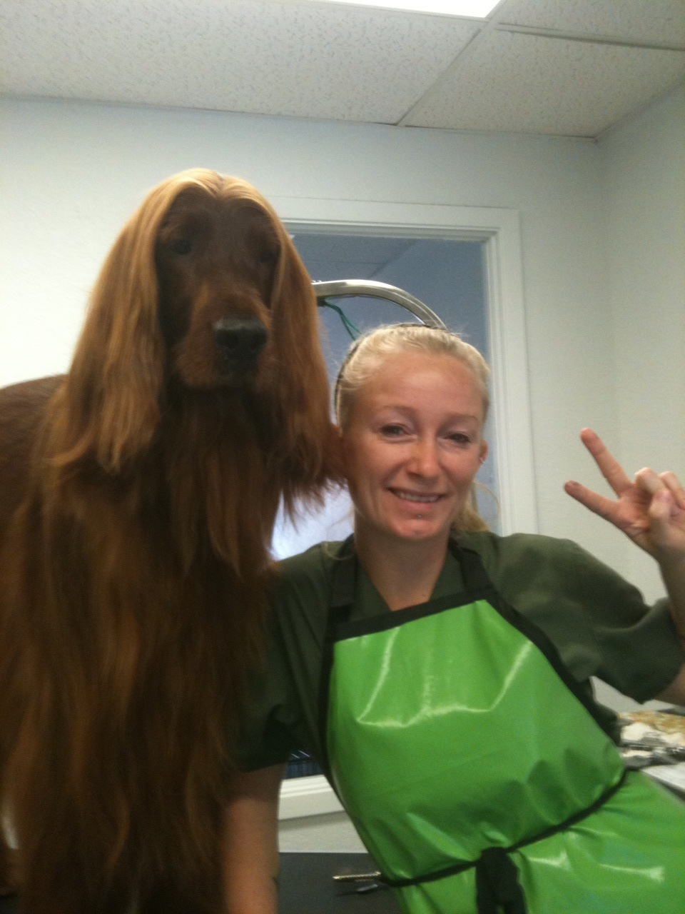 Randi with Buddy who comes to see her every other week at Mesa. He's so chill during his brushing, it's pretty amazing.