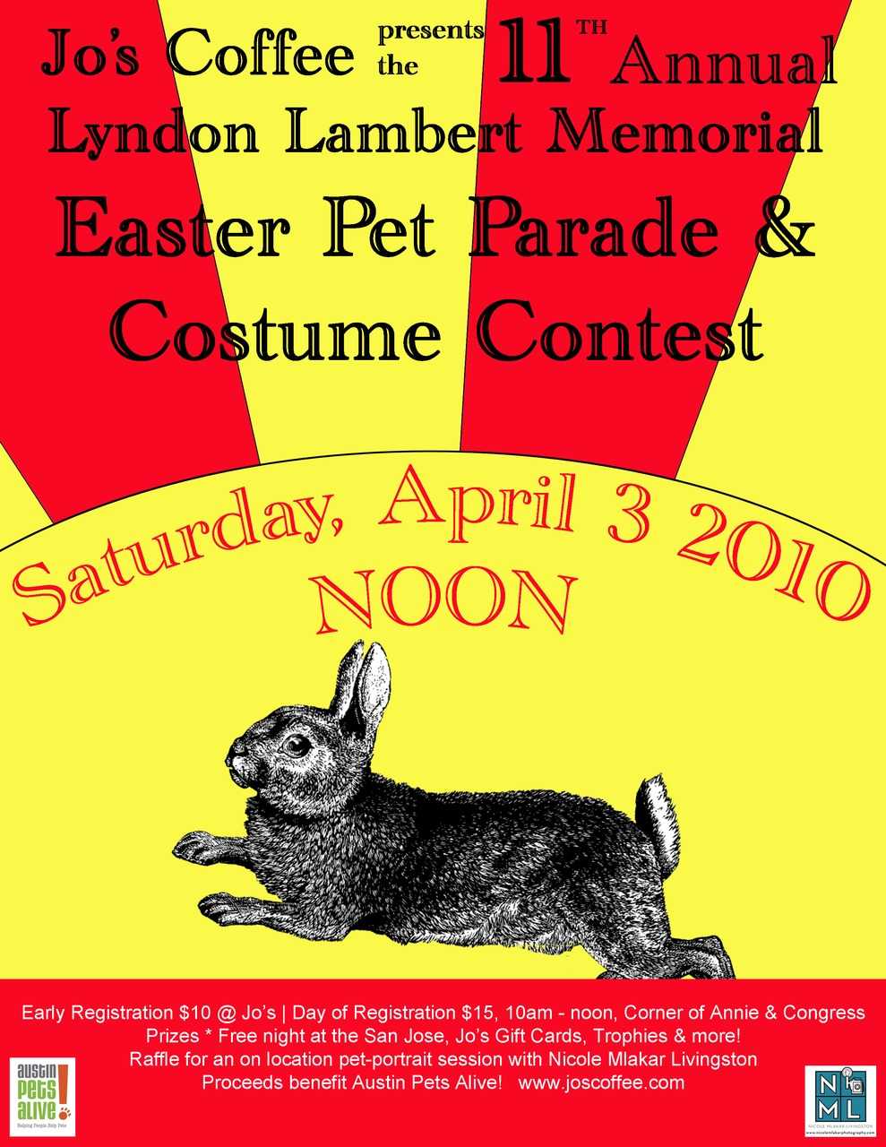 Saturday April 3rd: Jo's Coffee 11th Annual Pet Parade. For more info: click on the picture. ALWAYS a great time!