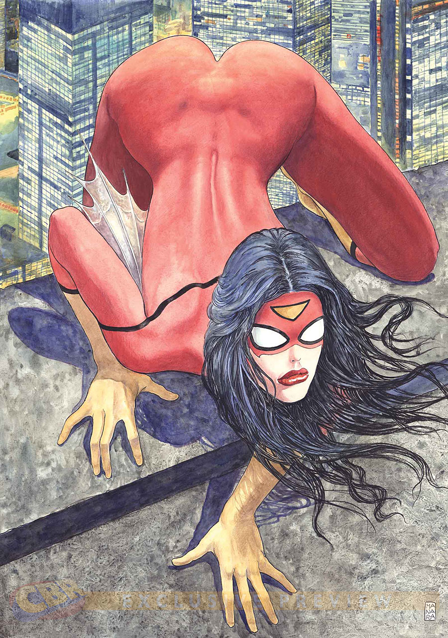 Variant Spider-Woman #1  Is she wearing fabric or body paint?