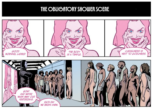 An example of the use of classic tropes—but note that the nudity isn't remotely sexualized here—AS WELL AS of the diversity within the cast.