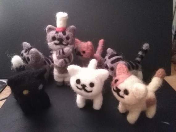 Neko Atsume felted cats