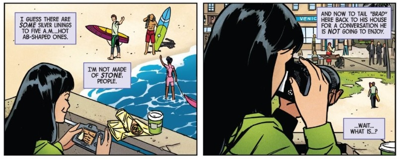 "Two panels from Hawkeye #1.  Narration, panel one: I guess there are  some  silver linings to five a.m... hot ab-shaped ones.  I'm not made of  stone , people.  Narration, panel two: And now to tail "" Brad "" here back to his house for a conversation he is  not  going to enjoy.  ...Wait... What is..?"