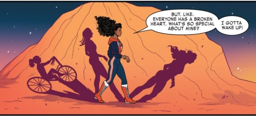 One panel from America #10  America: But, like, everyone has a broken heart. What's so special about mine? America: I gotta wake up!