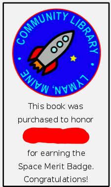 Space Merit Badge bookplate