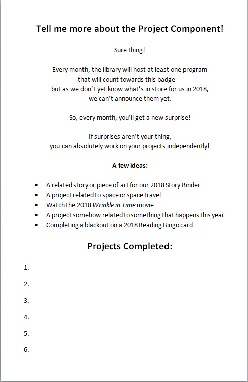 Project page of the 2018 Annual Badge booklet