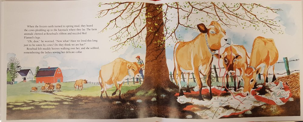 A spread from near the end of the book that shows Our Heroine Brought Low. I do love those cows, though.
