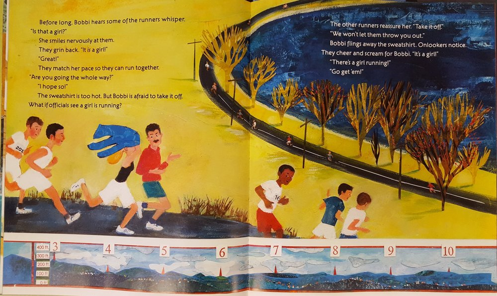 Spread from  Girl Running , showing Bobbi being welcomed and supported by her competitors.