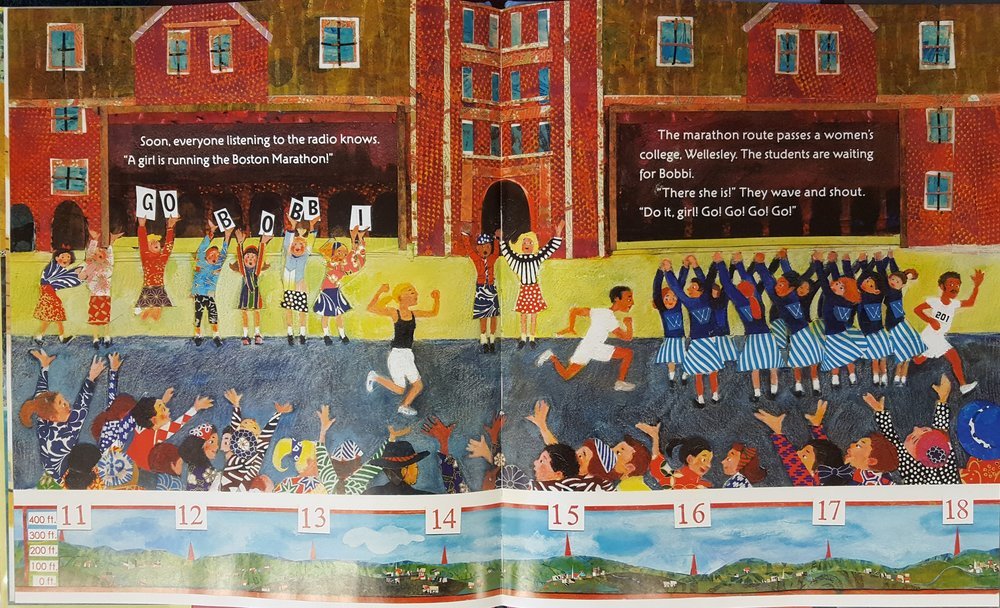 Spread from  Girl Running , showing Bobbi triumphantly running by Wellesley. ( The Girl Who Ran  also depicts her running by Wellesley, but doesn't explain that it's a women's college.)