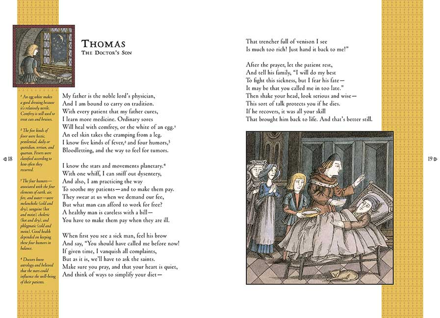 Example of the layout in  Good Masters! Sweet Ladies! Voices from a Medieval Village , by Laura Amy Schlitz