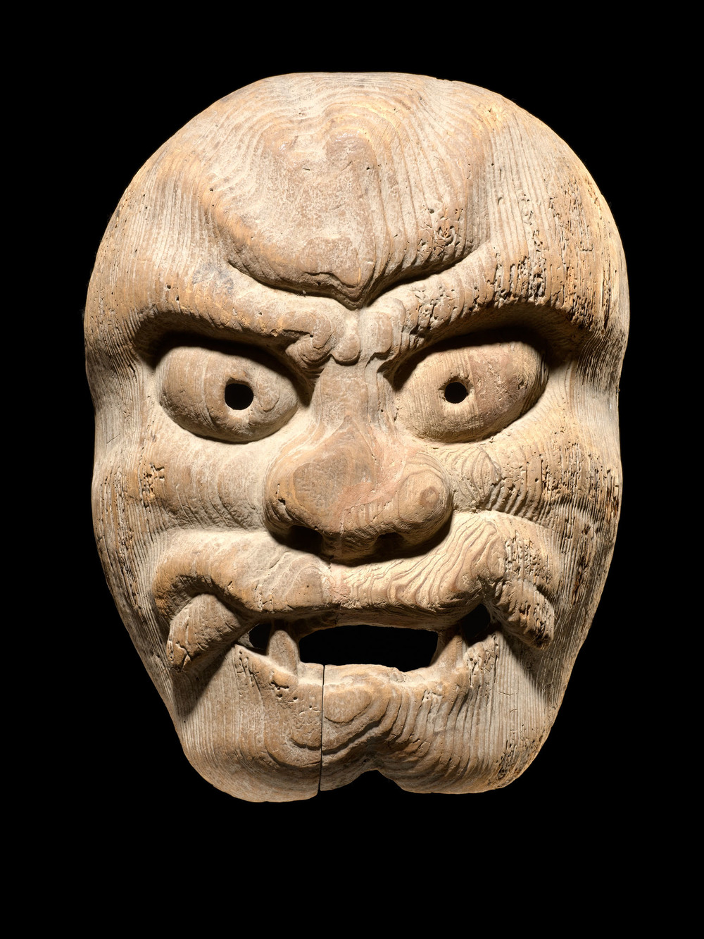 Japan - Shrine Mask, 19th c. Wood  /  9.5 x 7 x 2.25 inches (24.1 x 17.8 x 5.7 cm)  /  M 112s