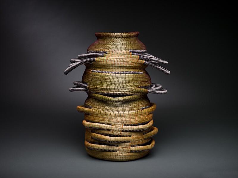Debora Muhl Totem, 2009 Sweet grass, waxed linen, rayon ribbons 15 x 14 x 10 inches / 38.1 x 35.6 x 25.4 cm / DMu 3