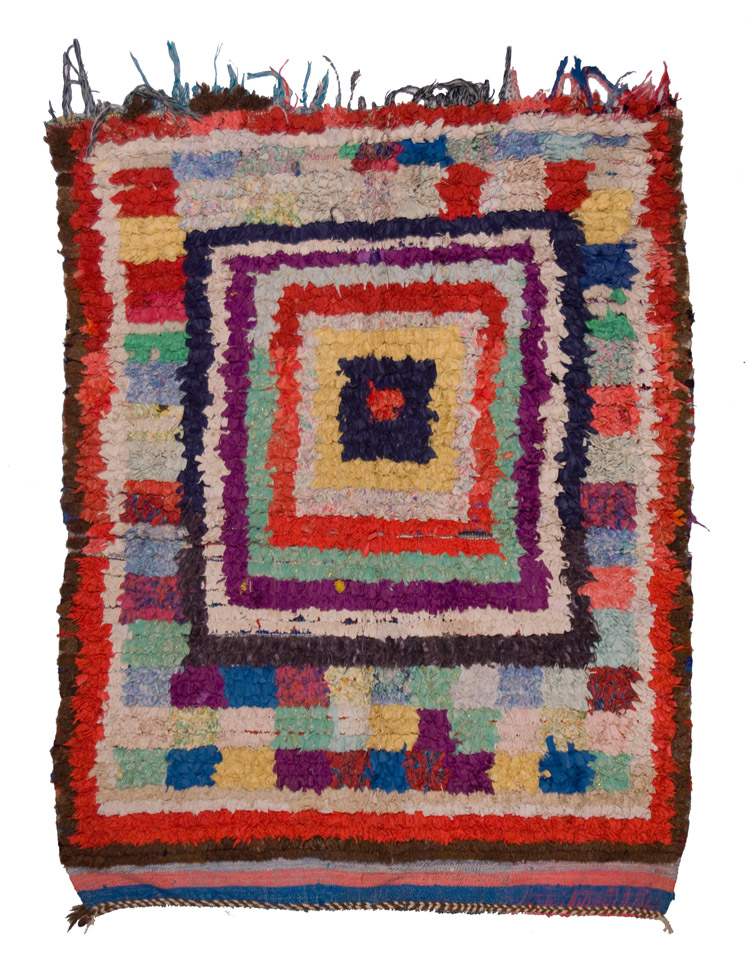 Morocco Boucherouite, Late 20th C. Industrial recycled fibers, rag 52 x 65 inches  /  132.1 x 165.1 cm  /  Mor 162